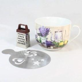 Cană din ceramică cu răzătoare și suport Dakls Violet, 420 ml