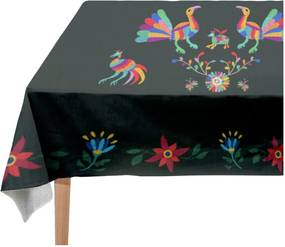 Față de masă Madre Selva Animals Otomi Negro, 140 x 250 cm