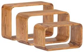 289628 vidaXL Mese laterale, 3 buc., lemn masiv de acacia, finisaj sheesham