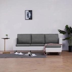 282202 vidaXL Canapea cu 3 locuri cu perne, alb, piele ecologică