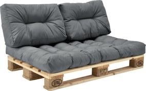 [en.casa]® Set perne interior - canapea paleti - 1 x perna sezut + 2 x perne spate - gri deschis