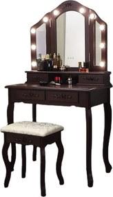 Set Anastasia, masă de toaletă cu 3 oglinzi iluminate LED, control touch, 4 sertare, scaun, Maro