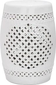 Măsuță din ceramică adecvată pentru exterior Safavieh Marbella, ø 33 cm, alb