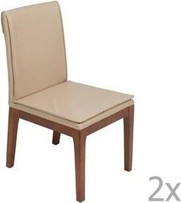 Set 2 scaune cu structură din lemn de stejar Santiago Pons Donato, crem