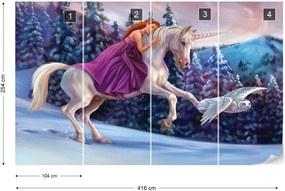 Fototapet GLIX - Princess Unicorn + adeziv GRATUIT Tapet nețesute - 416x254 cm