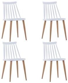 276239 vidaXL Scaune de bucătărie, 4 buc., alb, plastic