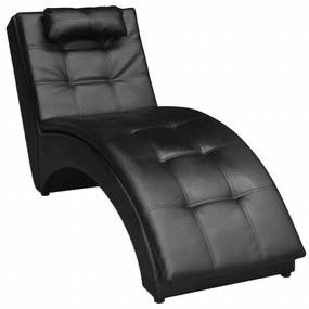 242216 vidaXL Șezlong cu pernă, negru, piele ecologică