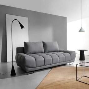 Canapea extensibila cu lada de depozitare, tapitata cu stofa, 3 locuri Venice Gri, l218xA112xH71 cm