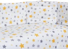Set lenjerie patut cu 5 piese Yellow and Grey Stars White
