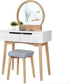 Măsuță de toaletă din lemn cu oglindă, scaun și două sertare Songmics