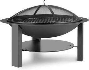 Blumfeldt Mithras Fire bowl, grill de foc foc ø75 cm, grilaj protecție Ø60 cm, grătar, oțel turnat, fier