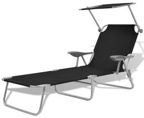 42932 vidaXL Șezlong de plajă cu baldachin, negru, oțel