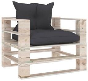 3066040 vidaXL Canapea grădină din paleți, cu perne antracit, lemn de pin
