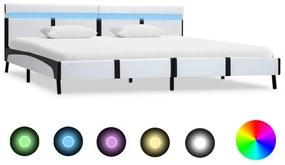 280301 vidaXL Cadru de pat cu LED, alb, 180 x 200 cm, piele artificială