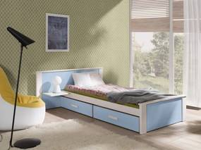 Pat din lemn de pin si pal, cu 2 sertare pentru copii Aldo Plus, 200 x 90 cm