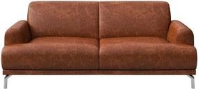 Canapea din piele MESONICA Puzo, maro coniac