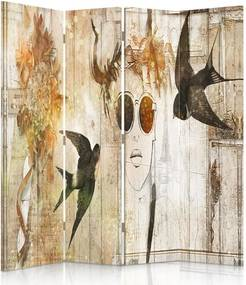 CARO Paravan - A Girl With Glasses And Swallows | cvadripartit | unilateral 145x150 cm