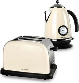 Klarstein Aquavita Set mic dejun Cream | 2200W Kettle 1.7L | 1000W 2-felie prăjitor de pâine | smântână |