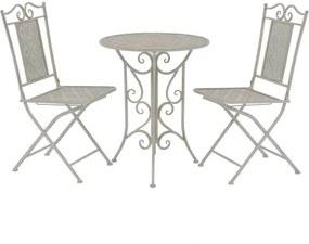 Set mobilier de grădină tip bistro, 3 piese, oțel, gri