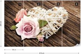 Fototapet GLIX - Rose Heart Rustic + adeziv GRATUIT Tapet nețesute - 416x254 cm