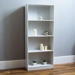 Biblioteca Ronald din lemn, alb, 160 x 60 cm