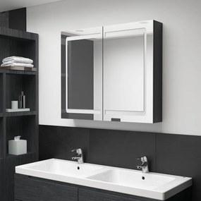 326512 vidaXL Dulap de baie cu oglindă și LED, negru strălucitor, 80x12x68 cm