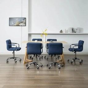 278547 vidaXL Scaune de sufragerie pivotante, 6 buc., albastru, textil