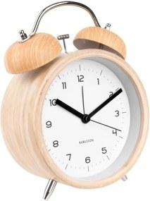 Ceas alarmă Karlsson Classic, decor lemn, ⌀ 14 cm, alb