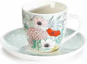 Ceasca cu farfurioara portelan cu decor floral multicolor Ø 6 cm x 5 h