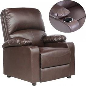 Fotoliu recliner Kino, cu suport pentru bauturi, piele naturala maro