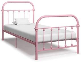 284511 vidaXL Cadru de pat, roz, 100 x 200 cm, metal