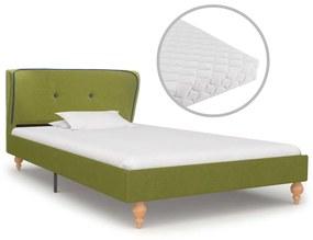 277367 vidaXL Pat cu saltea, verde, 90 x 200 cm, material textil