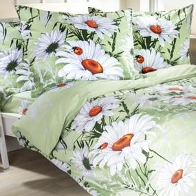 Lenjerie de pat din bumbac Daisy de culoare verde pat franțuzesc