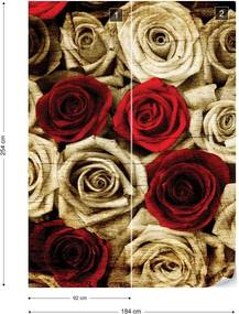 Fototapet GLIX - Vintage Red Roses + adeziv GRATUIT Papírová tapeta  - 184x254 cm