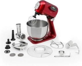 Klarstein Curve Plus, robot de bucătărie, 5 l, mașină de tocat carne 4 în 1, roșu