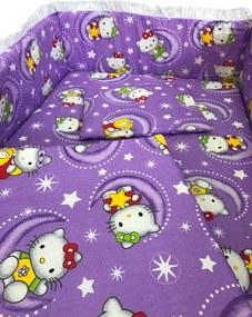 Lenjerie patut cu 5 piese Hello Kitty mov 140x70 cm
