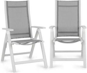 Blumfeldt Cádiz, scaun pliabil, set de 2 bucăți, 59,5 x 107 x 68 cm, ComfortMesh, aluminiu, alb