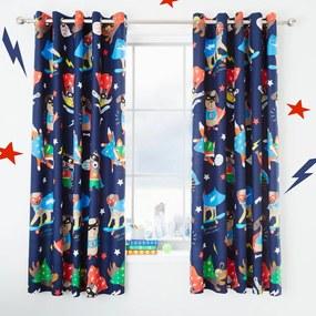 Set 2 draperii pentru camera copiilor Catherine Lansfield Super Dog, 168 x 183 cm, albastru