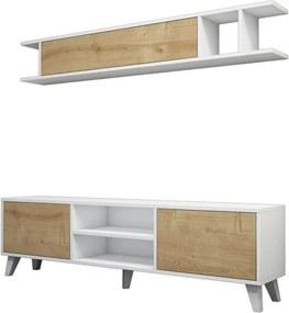 Set comodă TV și poliță perete cu detalii cu aspect de lemn de pin Muzzo Italo, alb