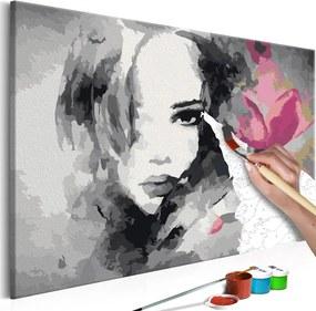 Bimago Pictura pe numere - Black & White Portrait With A Pink Flower