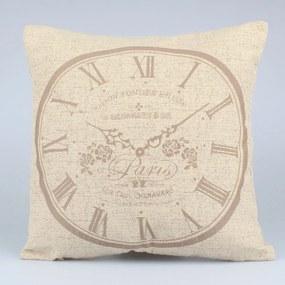 Față de pernă Dakls Clock, 40 x 40 cm, maro deschis