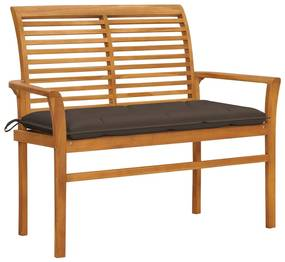 3062672 vidaXL Bancă de grădină, cu pernă gri taupe, 112 cm, lemn masiv de tec