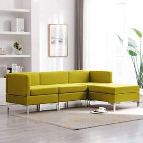 Set de canapele, 4 piese, galben, material textil