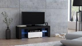 Mazzoni Masă RTV MILANO 110 + LED neagră, cu sertar alb
