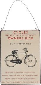 Tăbliță de perete retro Rex London Bicycle, 17 x 23 cm