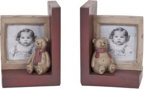 Set suporturi carti  lemn cu rama foto modem Ursulet 24 cm x 22 cl 30 cm