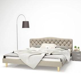 Cadru de pat, bază șipci, material textil, 180 x 200 cm, bej
