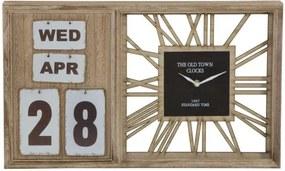 Ceas de perete Bell, 30x50x5 cm, mdf/ metal, maro/ negru