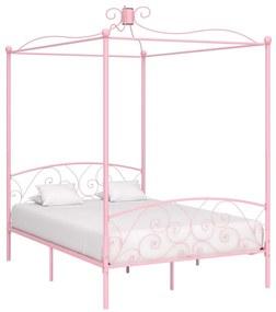 284489 vidaXL Cadru de pat cu baldachin, roz, 140 x 200 cm, metal