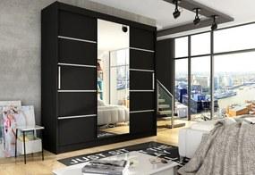 Expedo Dulap dormitor cu uşi glisante LUKAS VI cu oglindă, 250x215x58, negru mat